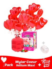 22 Ballons Mylar Coeur + Hélium Maxi