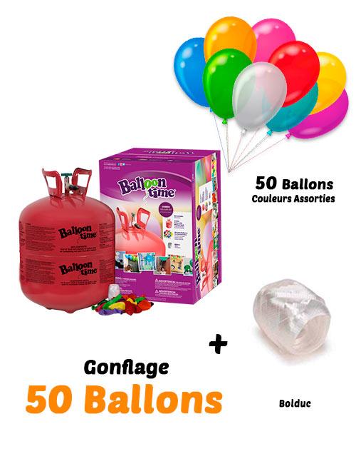 Bombonne d'Hélium Jetable Gonflage 50 Ballons