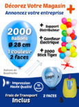 2000 Balloons de Baudruche de 28 cm Personnalisé à 2 Faces à 1 Couleur + 2000 Sticks + Gonfleur Électrique +Support Distributeur Pack Décorez Votre Magasin +