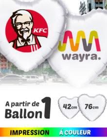 Ballon Mylar en forme de Coeur de 42 / 76 cm Personnalisès en Couleur