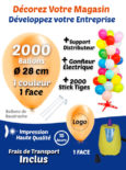 2000 Ballons de Baudruche de 28 cm Personnalisés à 1 face 1 couleur + 2000 Sticks + Gonfleur Electrique + Support Distributeur Pack Décorer votre Boutique