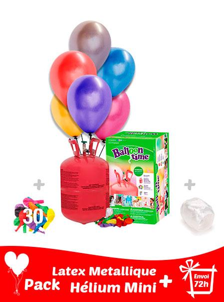 Pack 30 Ballons Métalliques+ Hélium Petit · Pack Métallique Mini