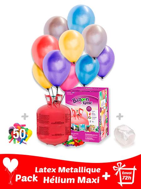 50 Ballons Métalliques + Hélium Grande · Pack Métallique Maxi