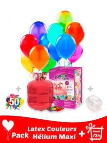 50 Ballons de Baudruche + Hélium Grande · Pack Ballon Maxi