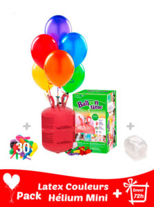 30 Ballons de Baudruche + Hélium Petit · Pack Ballons Mini