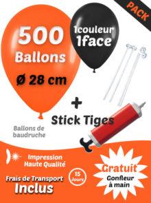 500 Ballons de Baudruche de 28 cm Personnalisés à 1 face et en 1 couleur + 500 Sticks + Gonfleur Electrique Pack Basique