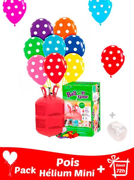 20 Ballons a pois 30 cm + Hélium Mini · Pack pois Mini