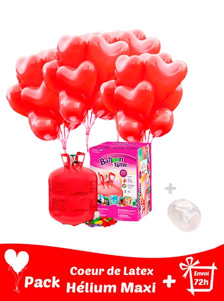 40 Ballons Coeur Latex 36 cm + Hélium Maxi