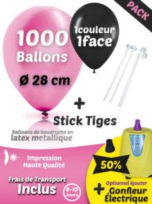 1000 Ballons de Baudruche en Latex Métallique + 1000 Sticks + Gonfleur Électrique Pack Métallique
