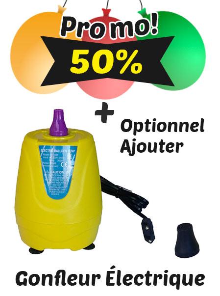 1000 Ballons de Baudruche de 28 cm Personnalisés 1 face 1 couleur + 1000 Sticks + Option Gonfleur Électrique Pack Épargne