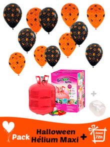 40 Ballon Halloween + Helio Maxi · Pack Halloween Maxi