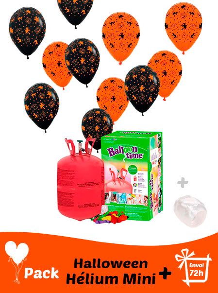 20 Ballon Halloween 30 cm + Hélium Mini · Pack Halloween Mini