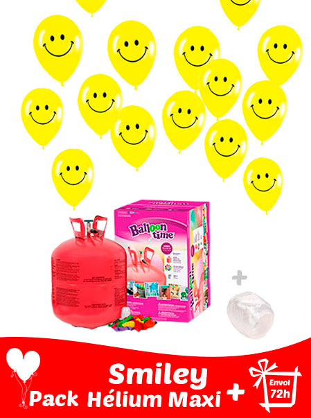 40 Ballon Smiley 30 cm + Hélium Maxi · Pack Smiley Maxi