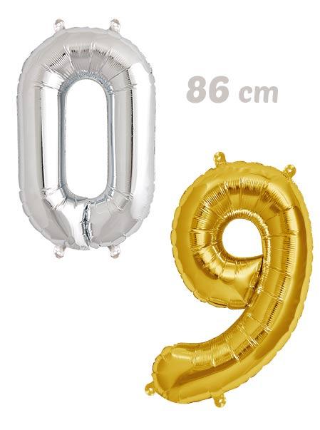 Pack Numeros Globos Dorados y Plata 86 cm