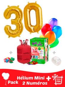 2 Ballons Mylar de Couleur Or en forme de Numéro + Hélium Petit