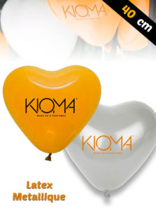 Ballons de Latex Metallique en forme de Coeur de 40 cm