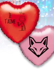 Pack Promo de 12 Balloons Mylar Coeur de 42 cm Personnalisé a 1 Couleur
