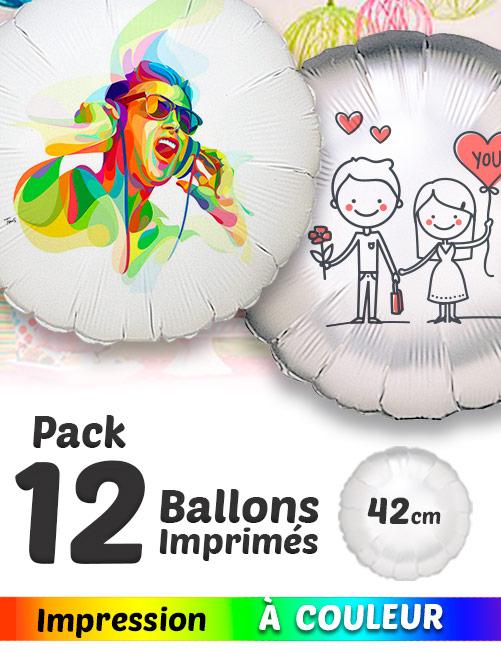 Pack Promo de 12 Balloons Mylar Rond de 42 cm Personnalisé a Couleur