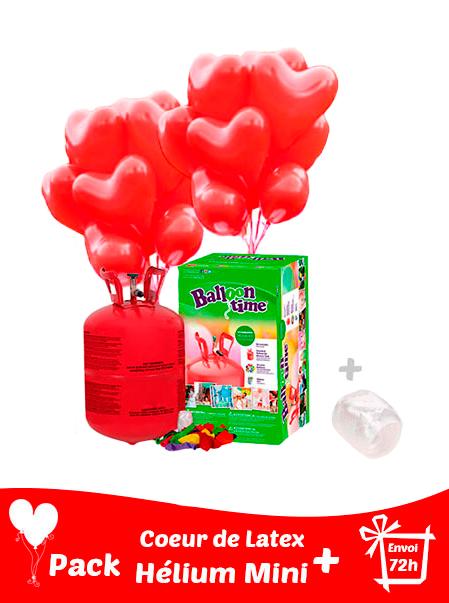 20 Ballons Coeur Latex 36 cm + Hélium Petit