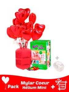 12 Ballons Mylar Coeur + Hélium Petit