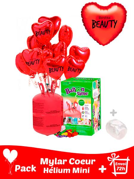 22 Ballons Mylars Coeur Personnalisés + Hélium Mini