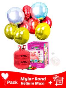 22 Ballons Mylar Rond + Hélium Grande