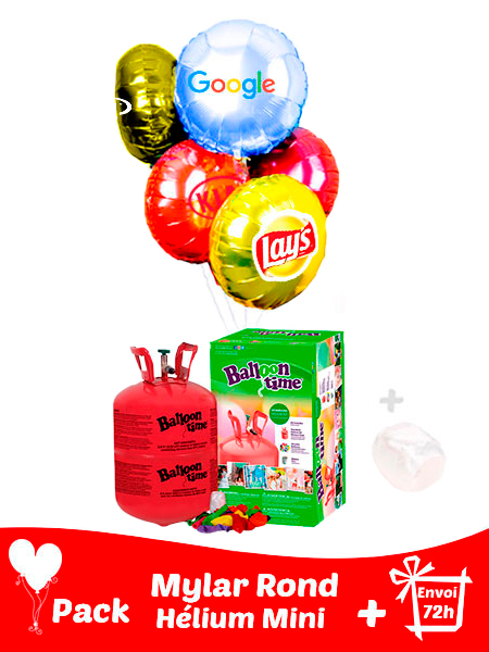 12 Ballons Mylar Rond Personnalisé + Hélium Petit