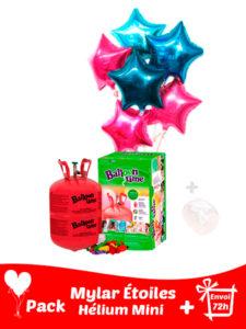 12 Ballons Mylar Étoile + Hélium Petit