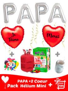 Ballons Latex Fêtes des Pères 4 Lettre 46 cm PAPA + 2 Mylar Coeur 42 cm Personnalise + Hélium Mini